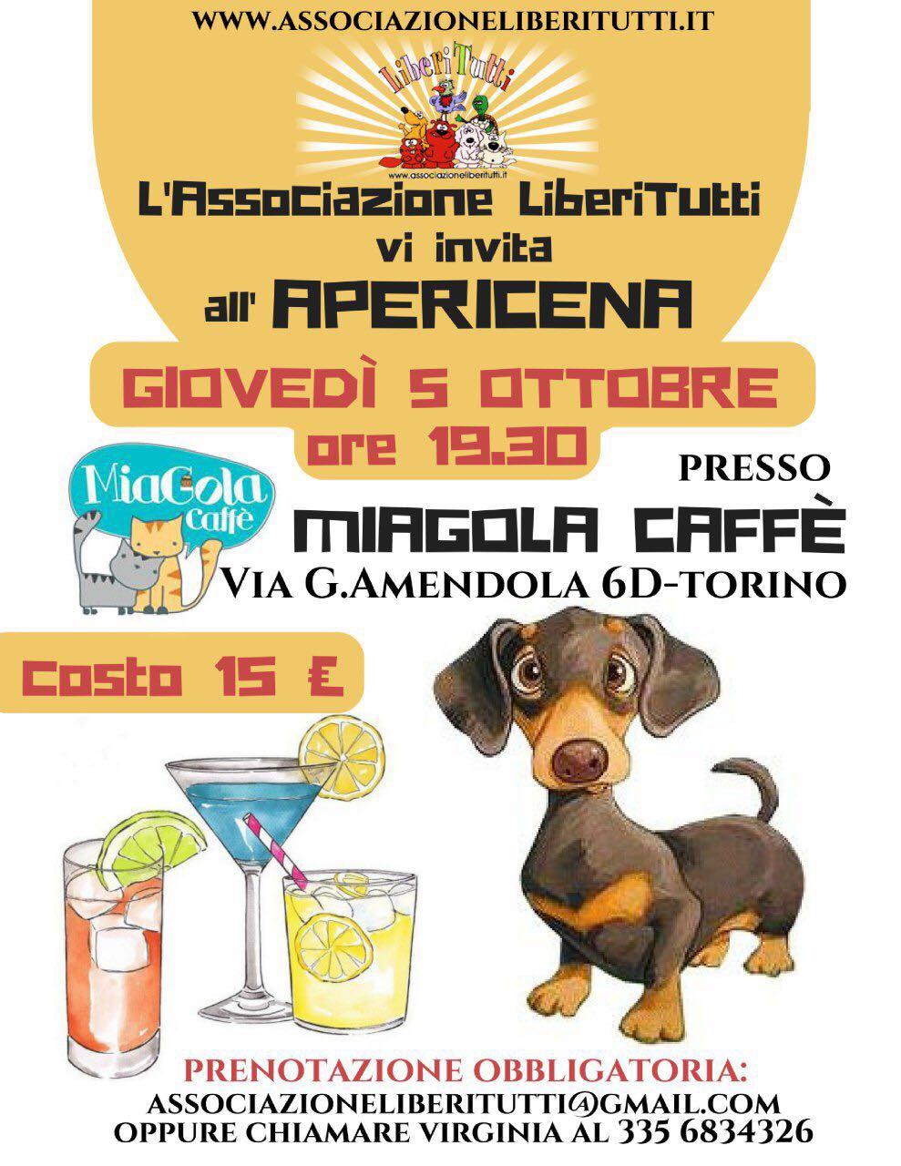 APERICENA GIOVEDI 5 OTTOBRE presso MIAGOLA CAFFE' TORINO
