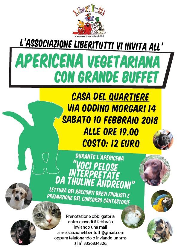 APERICENA VEGETARIANA di Liberitutti il 10 Febbraio 2018 !!!!!